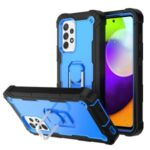 Built-in Kickstand Design Shockproof PC + Silicone Dual Color Phone Case for Samsung Galaxy A52 4G/5G – Black/Blue