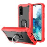 Shockproof PC + Silicone Phone Case with Built-in Kickstand Design for Samsung Galaxy S20 FE/S20 Fan Edition/S20 FE 5G/S20 Fan Edition 5G – Red/Black
