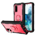 Shockproof PC + Silicone Phone Case with Built-in Kickstand Design for Samsung Galaxy S20 FE/S20 Fan Edition/S20 FE 5G/S20 Fan Edition 5G – Black/Rose Red