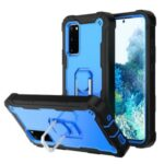 Shockproof PC + Silicone Phone Case with Built-in Kickstand Design for Samsung Galaxy S20 FE/S20 Fan Edition/S20 FE 5G/S20 Fan Edition 5G – Black/Blue
