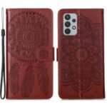 Imprinting Dream Catcher Pattern Design Wallet Leather Stand Case for Samsung Galaxy A32 4G (EU Version) – Brown