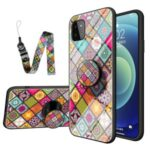 Colorful Printed Glass + PC + TPU Hybrid Phone Cover Case with Kickstand Strap for Samsung Galaxy A22 5G (EU Version) – Color Pattern