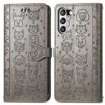 Imprinting Cat Dog Pattern Design Leather Stand Phone Case for Samsung Galaxy S21 FE – Grey