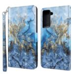 3D Pattern Printing Drop-proof Leather Wallet Stand Phone Shell Case Protector for Samsung Galaxy S21 FE – Milky Way