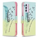 Pattern Printing Leather Wallet Shell Case for Samsung Galaxy A82 5G – Feather Pattern