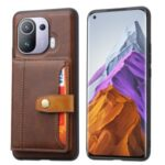 Built-in Card Slots Leather Phone Case Kickstand Design Cover for Xiaomi Mi 11 Pro – Brown