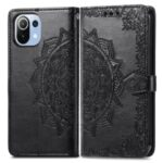 Embossed Mandala Flower PU Leather Case Stand Wallet for Xiaomi Mi 11 Lite 4G / 5G – Black