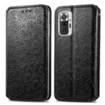 Imprinted Mandala Flower Pattern Auto-absorbed PU Leather Case Stand Wallet for Xiaomi Redmi Note 10 Pro / Redmi Note 10 Pro Max – Black