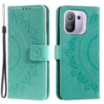 Imprinted Mandala Flower Wallet Stand Leather Case for Xiaomi Mi 11 Pro – Green
