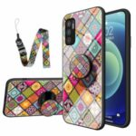 Glass + PC + TPU Hybrid Phone Back Cover Colorful Printed Kickstand Case with Strap for Xiaomi Redmi Note 10 5G/Poco M3 Pro 4G/Poco M3 Pro 5G – Color Pattern