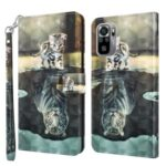 3D Pattern Printing Shockproof Leather Phone Shell Wallet Stand Case with Lanyard for Xiaomi Redmi Note 10 4G/Note 10S – Cat and Tiger