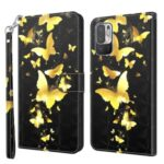 3D Pattern Printing Wallet Stand Design Leather Mobile Phone Back Shell Case Protector for Xiaomi Redmi Note 10 5G – Gold Butterfly
