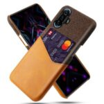 KSQ Shockproof Cloth + PU Leather Coated PC Phone Case Protector with Card Slot for Xiaomi Redmi K40 Gaming – Orange