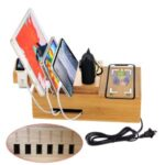 DCR-018 Bamboo Holder Stand for iPhone iPad AirPods Phone Cords Charging Station Docks Organizer – US Plug