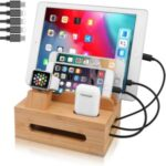 DCR-019 Bamboo Desktop Charging Dock Station Charger Holder Stand Organizer for iPhone iPad