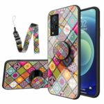 Hybrid Phone Case Colorful Printing Glass + PC + TPU Cover Shell with Kickstand Strap for vivo V21 5G – Color Pattern