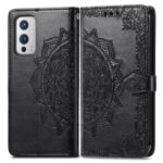 Embossed Mandala Flower PU Leather Case Stand Wallet for OnePlus 9 (EU / US Version) – Black