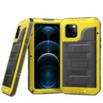 Silicone+Metal Full Protection Shockproof Waterproof Case for iPhone 12 Pro – Yellow