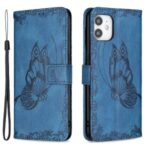 Imprint Butterfly Flower Wallet Leather Phone Case for iPhone 12 mini – Blue