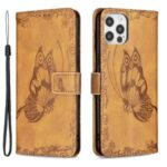 Imprint Butterfly Flower Wallet Leather Stand Case for iPhone 12 Pro – Brown