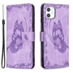 Imprint Butterfly Flower Magnetic Leather Stand Case for iPhone 11 – Purple