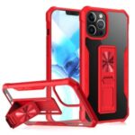 Drop Resistant TPU+Acrylic Mobile Phone Cover Case Shell Built-in Kickstand for iPhone 12/12 Pro – Red