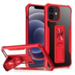 TPU + Acrylic Hybrid Phone Case Cover with Kickstand Built-in Magnetic Metal Sheet for iPhone 12 mini – Red