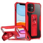Kickstand Design Shockproof Hybrid Phone Case Shell Built-in Magnetic Metal Sheet for iPhone 11 6.1 inch – Red