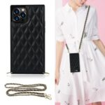 Chain Lanyard Stitching Rhombus Shock-Proof Protective Phone Case for iPhone 12 Pro Max – Black