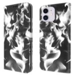 NILLKIN Fog Pattern Printing Leather Wallet Design Stand Phone Case for iPhone 12 mini – Black