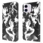 Fog Pattern Printing Wallet Stand Phone Case Leather Cover for iPhone 12 / 12 Pro – Black