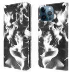 Fog Pattern Printing Stand Wallet Design Leather Phone Case Cover for iPhone 12 Pro Max – Black