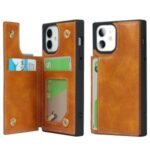 Crazy Horse Texture Buttons Folio Flip Leather Phone Cover Case for iPhone 12 mini – Brown