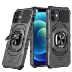 Shockproof PC + TPU Hybrid Case Cover with Ring Holder Kickstand for iPhone 12 mini – Black