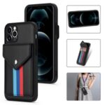 Tri-color Card Slots Design TPU + PU Leather Hybrid Phone Case with Lanyard for iPhone 12 Pro Max – Black