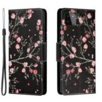 Pattern Printing Leather Stand Wallet Phone Case Shell for Samsung Galaxy A22 5G (EU Version) – Red Flowers in Black