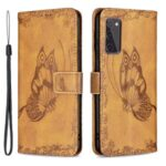 Magnetic Clasp Imprinted Butterfly Pattern Zipper Pocket Leather Phone Case Stand for Samsung Galaxy S20 FE 5G – Brown