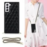 For Samsung Galaxy S21 5G TPU + PU Leather Hybrid Case Rhombus Cover Shell with Chain Lanyard – Black