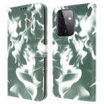 Full Protection Fog Pattern Printing Leather Wallet Design Stand Phone Cover for Samsung Galaxy A72 5G / 4G – Dark Green