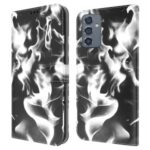 Full Protection Fog Pattern Printing Leather Wallet Design Stand Phone Cover for Samsung Galaxy A82 5G – Black