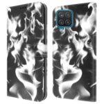 Full Protection Fog Pattern Printing Leather Wallet Design Stand Phone Cover for Samsung Galaxy A12 – Black