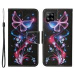 Fancy Printing Pattern Wallet Case with Card/Cash Slots Premium PU Leather Case Cover for Samsung Galaxy A22 4G (EU Version) – Luminous Butterfly