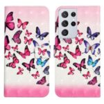 3D Pattern Printing PU Leather Stand Wallet Shockproof Protective Cell Phone for Samsung Galaxy S21 Ultra 5G – Pink/Blue Butterfly