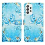 3D Cartoon Color Drawing Pattern PU Leather Wallet Stand Feature Flip Cover for Samsung Galaxy A52 5G / 4G – Blue/Gold Butterfly