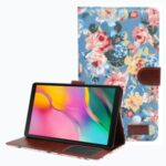 Magnetic PU Leather Flower Cloth Skin Wallet Soft Rubber Folio Stand Cover for Samsung Galaxy Tab A7 Lite 8.7-inch SM-T220 (Wi-Fi) – Blue