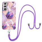 Soft Flexible TPU Splicing Marble Style (2.0mm) IMD Electroplating Protective Case with Lanyard for Samsung Galaxy S21 FE – Pink/Purple