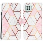 Splicing Marble Pattern Phone Leather Case Wallet with stand for Samsung Galaxy A22 4G (EU Version) – Pink/White