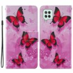 Cross Texture Pattern Printing Wallet with Stand Design Leather Flip Cover for Samsung Galaxy A22 4G (EU Version) – Pink Butterflly