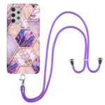 Full-Body Protective Marble Splicing Pattern (2.0 mm) IMD Electroplating TPU Shockproof Cover with Lanyard for Samsung Galaxy A32 4G (EU Version) – Pink/Purple