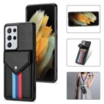 Tri-color Card Slots TPU + PU Leather Hybrid Phone Case Cover for Samsung Galaxy S21 Ultra 5G – Black